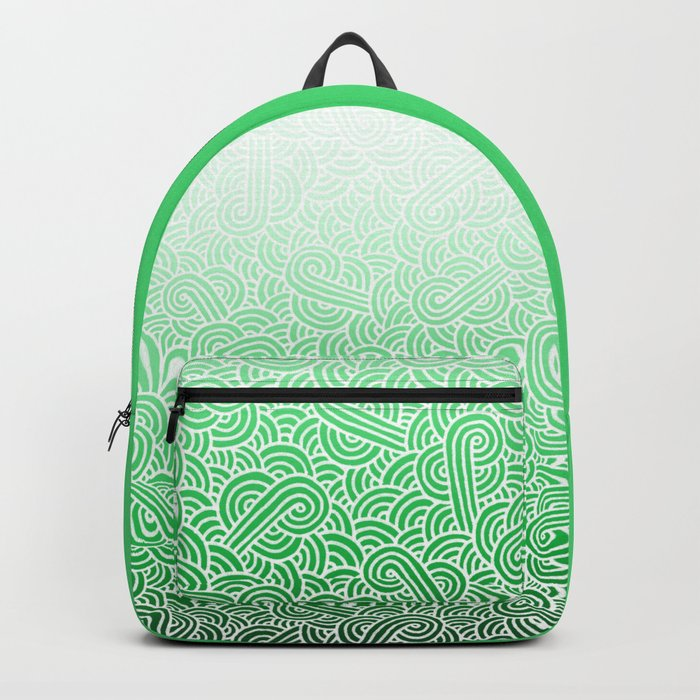 Ombre green and white swirls doodles Backpack