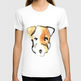 Black Ink and Watercolor Jack Russell Terrier Dog T-shirt