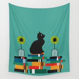 Cat, books and flowers Wall Tapestry