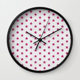 Abstract neon pink white faux glitter stars pattern Wall Clock