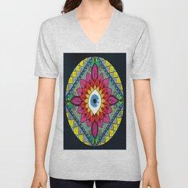 Colorful Eye of Horus Mandala Mosaic Abstract Unisex V-Neck