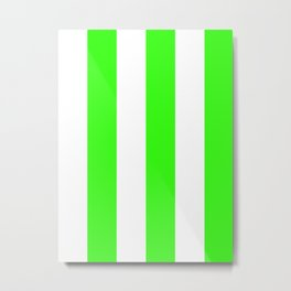 Wide Vertical Stripes - White and Neon Green Metal Print