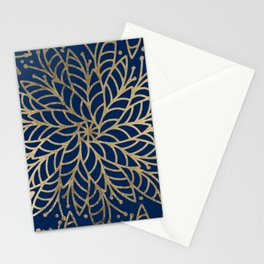 Modern chic navy blue faux gold floral mandala Stationery Cards