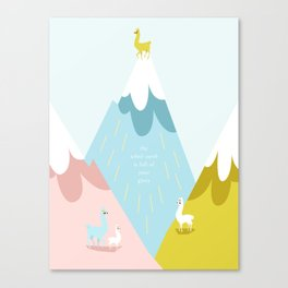 Cute Little Alpacas on the Mountains Canvas Print