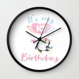 It's My 10th Birthday Penguin Girl 10 Years Old B-day product Wall Clock