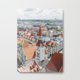 Aerial City View from the Church of St. Peter Tower in Munich, Germany Metal Print