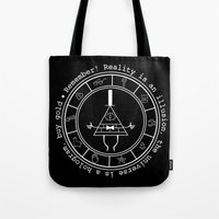 bill cipher Tote Bags featuring Bill Cipher - Dark by Flora