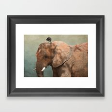 Brotherly- elephant and owl Framed Art Print