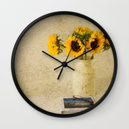 Vintage Sunflowers Wall Clock