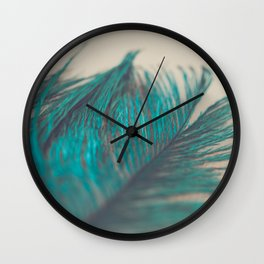 Turquoise Feather Abstract Wall Clock