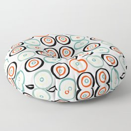 Midcentury Modern Coloful Abstract Dots and Circles Pattern Floor Pillow