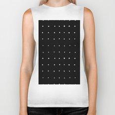 Dot Grid White on Black Biker Tank