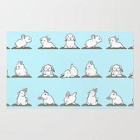 bunnies Area & Throw Rugs featuring Bunnies Yoga by Huebucket