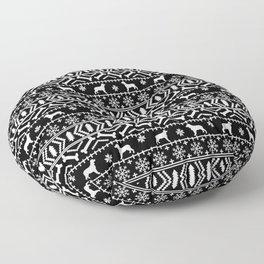 English Springer Spaniel fair isle christmas dog breed black and white pet art gifts Floor Pillow