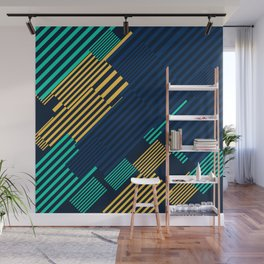 Green and Gold Linear Pattern Wall Mural