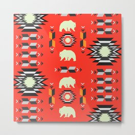 Tribal decor with bears in red Metal Print