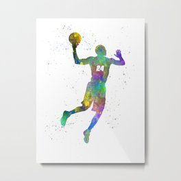 Basketball player 09 in watercolor Metal Print