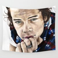 harry styles Wall Tapestries featuring Harry Styles Portrait by Tiffany Taimoorazy