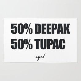 50% Deepak - %50 Tupac (Black Letters) Rug