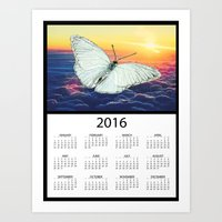 calendars Art Prints featuring 2016 Angel Butterfly Calendar by Whimsy Notions Designs