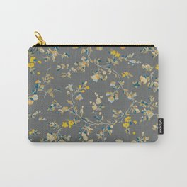 vintage floral vines - greys & mustard Carry-All Pouch