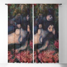 Paris Lovers in the Lilacs romantic floral portrait painting by Marc Chagall Blackout Curtain