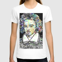 CHRISTOPHER MARLOWE watercolor and ink portrait T-shirt