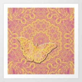 embossed butterfly on mandala Art Print