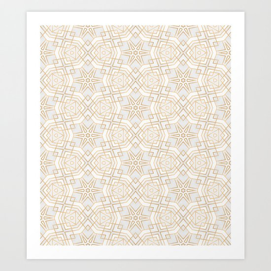 Golden Geo Stars Art Print