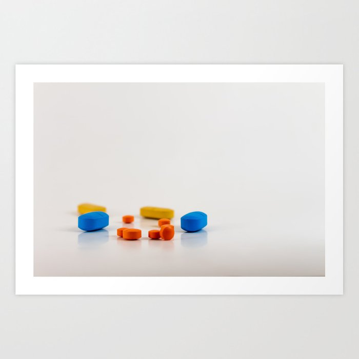 Colored medicines on a neutral background Art Print
