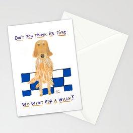 Golden Retriever Wants A Walk Stationery Cards