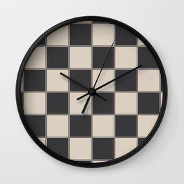 Traditional Checkerboard, Ecru-Beige and Chocolate-Deep Brown Wall Clock