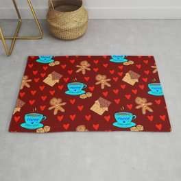 Lovely gingerbread men cookies, chocolate, cups of hot cocoa, red hearts brown winter pattern Rug