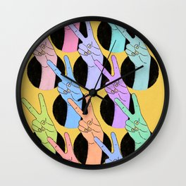 Peace, Colorful Hands, Peace Sign Illustration Wall Clock