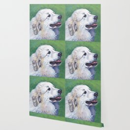 Great Pyrenees dog portrait art from an original painting by L.A.Shepard Wallpaper