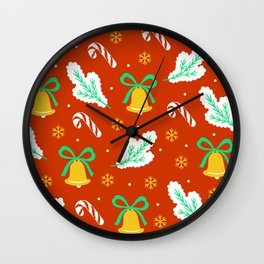 Christmas Bells and Candy Canes Pattern Wall Clock