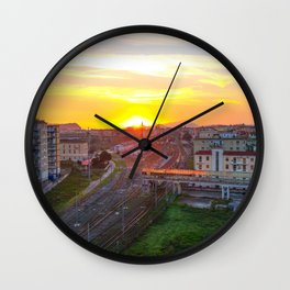 Fuorigrotta quarter at sunset Wall Clock