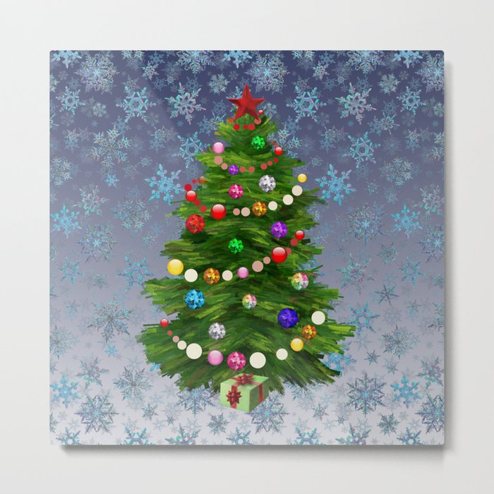 Christmas tree & snow v.2 Metal Print