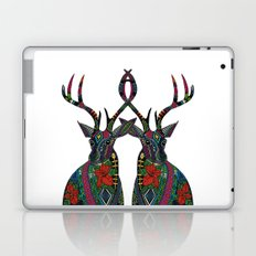 poinsettia deer white Laptop & iPad Skin