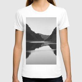 Lake mountain. At sunset. BW T-shirt
