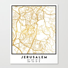 JERUSALEM ISRAEL PALESTINE CITY STREET MAP ART Canvas Print