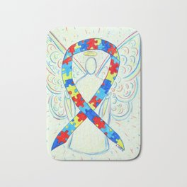 Autism Puzzle Piece Awareness Ribbon Angel Art Painting Bath Mat