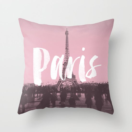 Pink Paris Eiffel Tower Throw Pillow by Crafty Lemon Society6
