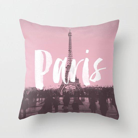 Decorative Pillows Eiffel Tower : Pink Paris Eiffel Tower Throw Pillow by Crafty Lemon Society6
