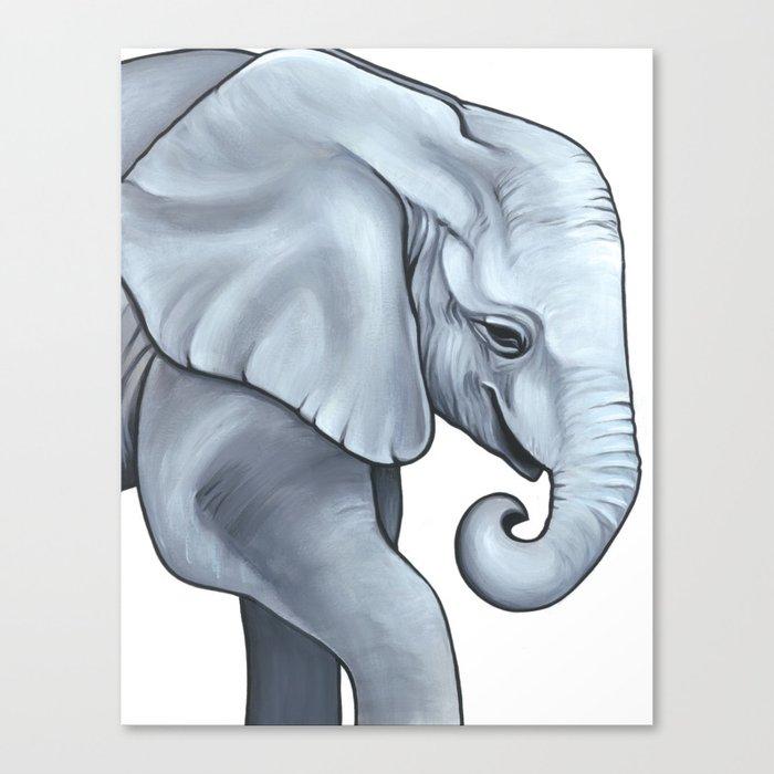 Baby Animal Nursery Art - Gender Neutral - Elephant Calf Canvas Print