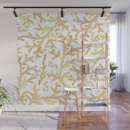 Modern faux gold glitter white elegant floral pattern Wall Mural