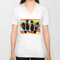 feet V-neck T-shirts featuring Happy Feet by Derek Eads