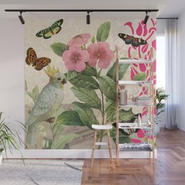 A macaw with flowers and butterflies Wall Mural