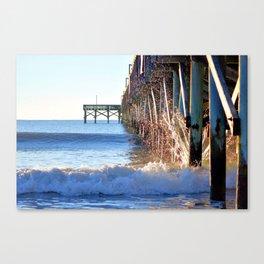 Crashing Waves At Pier Canvas Print