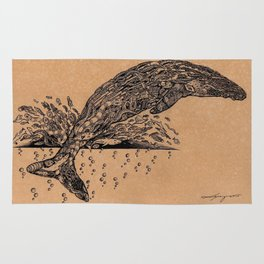 rubbish whale coffee ink Rug